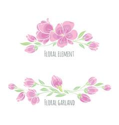 set of design elements pink sakura blossom vector image vector image