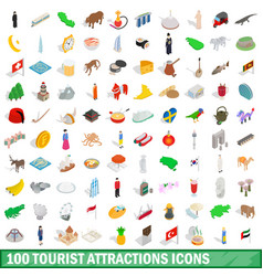 100 tourist attractions icons set vector image