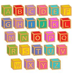 Alphabet english colorful blocks vector