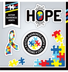 Autism Awareness Month Design Elements vector image vector image