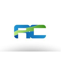 Blue green rc r c alphabet letter logo vector