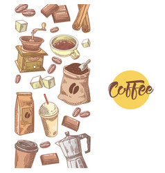 Coffee hand drawn design with coffee beans vector