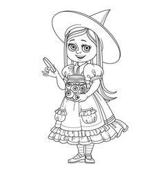 cute girl in witch costume holding a big jar with vector image