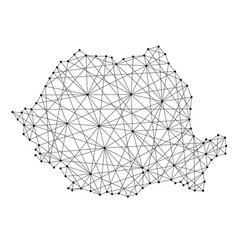 map of romania from polygonal black lines and dots vector image