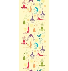 Workout fitness girls vertical seamless pattern vector image