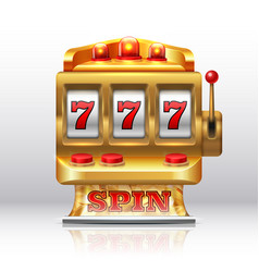 777 jackpot slot machine golden casino spin vector image
