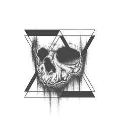 abstract dot work grunge skull tattoo design vector image