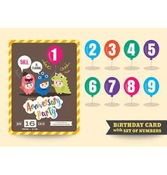 Anniversary kids birthday card template vector
