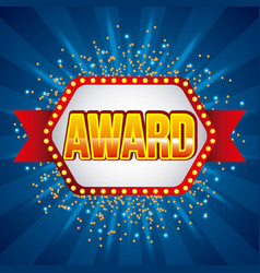 award banner ribbon shining blue background vector image
