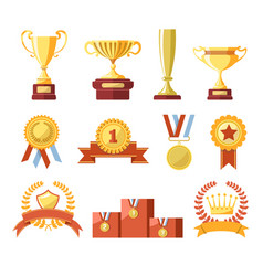 awards cups winner medals or champion ribbons vector image
