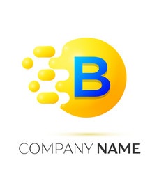 B letter splash yellow dots and circle bubble vector