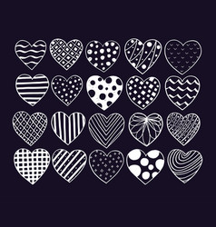 big set of hand drawn hearts valentine vector image