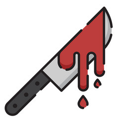 Bloodstained knife linecolor vector