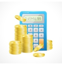 Blue Calculator and stacks of golden coins vector