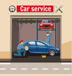 Car service station concept cartoon style vector
