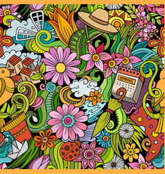 Cartoon doodles spring seamless pattern vector