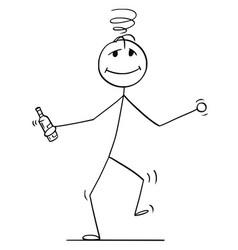 cartoon of drunk man walking or dancing with vector image