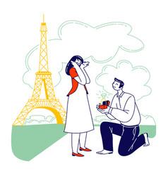Characters romantic proposal in paris concept man vector