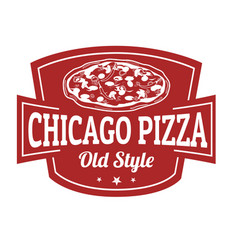 chicago pizza sign or stamp vector image