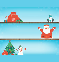 christmas banners set with decoration elements vector image