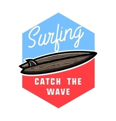 Color vintage surfing emblem vector image
