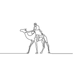 continuous line drawing rider camel vector image