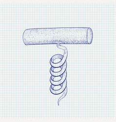 cork screw hand drawn sketch vector image