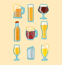 Craft beer icon set hand drawn style vector