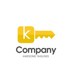 Creative gold key color with letter k logo vector