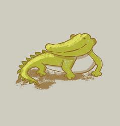 crocodile cartoon cute reptile animal hand drawn v vector image