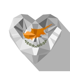 Crystal gem jewelry Cypriot heart with the flag of vector