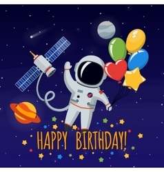 cute astronaut in outer space background vector image