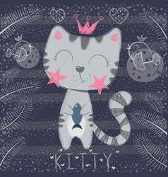 Cute little princess - funny cat vector