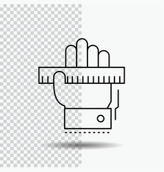 education hand learn learning ruler line icon on vector image