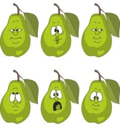 Emotion green pear set vector