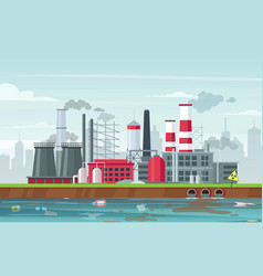 environmental pollution concept in flat style vector image