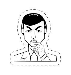 Face man expression facial black and white vector