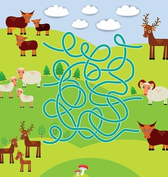 Farm animals - sheep deer cow labyrinth game for vector image