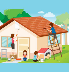 Father mother son and daughter repairing home vector