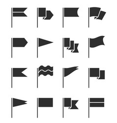 flag icons pennant with flagpole black vector image