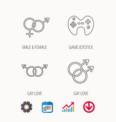 Gay lesbian love and game joystick vector