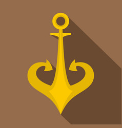 gold anchor icon flat style vector image