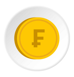gold coin with franc sign icon circle vector image
