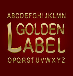 golden label typeface retro font isolated vector image