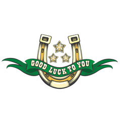 good luck horse shoe emblem vector image