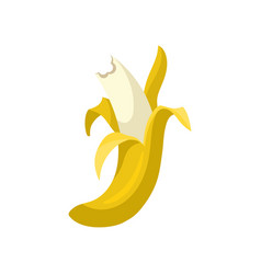 half peeled bitten banana bright yellow tropical vector image