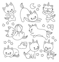 hand drawn cute flying unicorn cats vector image