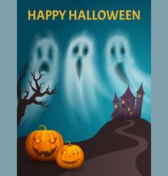 Happy halloween spooky castle hill poster vector