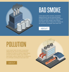 Heavy industry air pollution horizontal flyers vector
