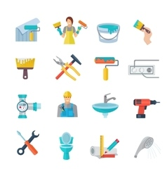 Home Repair Icons Flat Set vector